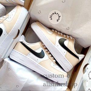 Nike womens air force 1 low custom biege c…